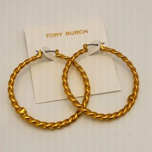 NEW 18k GP Tory Burch Torsade Twisted Braid Hoops